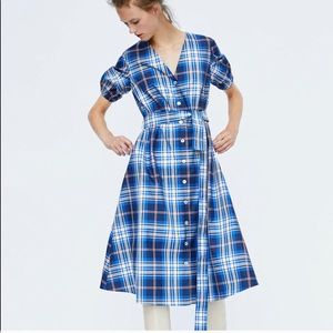 ZARA Blue Plaid Taffeta Midi-Dress